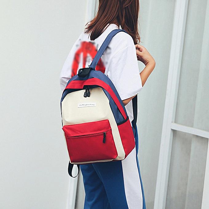 Fashion (Xiuxingzi)  Fashion Neutral Students Nylon Hit Couleur Shoulder Bag School Bag Tote Backpack à prix pas cher