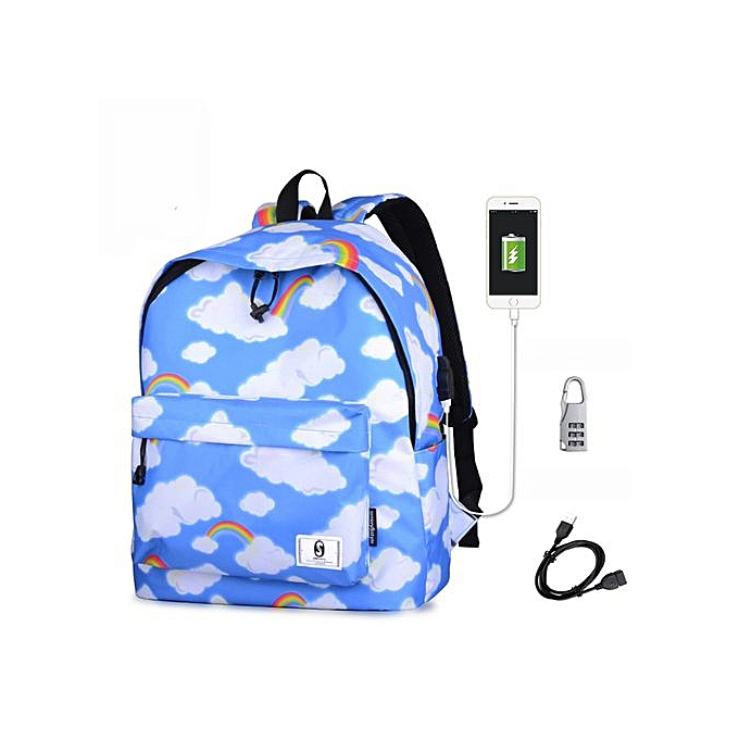 Generic Tectores Fashion Accessories Fashion Fresh Print School Shoulder Bags Backpack Travel Rucksack With USB à prix pas cher