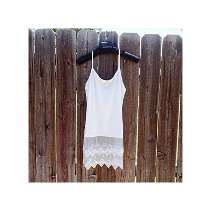 mode Active Classic Lace Vest Long Camisole femmes& 039;s Basic Tank hauts (blanc) à prix pas cher