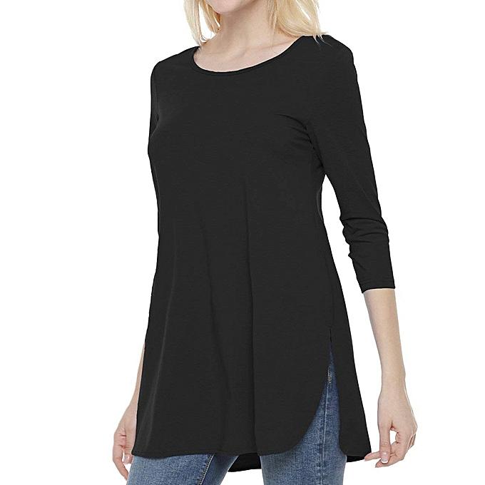 Fashion femmes Long Sleeve Solid Couleur Side Slit Tops Ladies Casual Blouse Shirt à prix pas cher