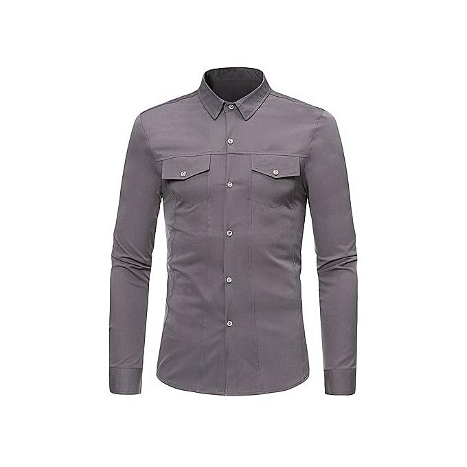 AFankara Faux Pockets Solid Couleur Long Sleeve Shirt - gris à prix pas cher