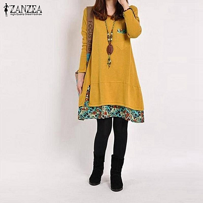 Zanzea ZANZEA Spring femmes Cotton Linen Dress Autumn Vintage Hem Print Dress Casual O Neck Long Sleeve Dress Robe Vestidos Plus Taille jaune à prix pas cher