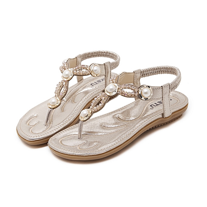 OEM New style Large Taille femmes sandals  fashion beaded slippers comfortable beach sandals femmes flip flops-or à prix pas cher