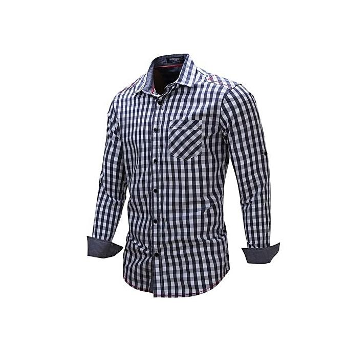 mode nouveau 2018 Hommes Décontracté Robe Shirt manche longue Patchwork Plaid 100% Cotton Male Affaires Social Shirt Plus Taille 3XL-navy bleu à prix pas cher