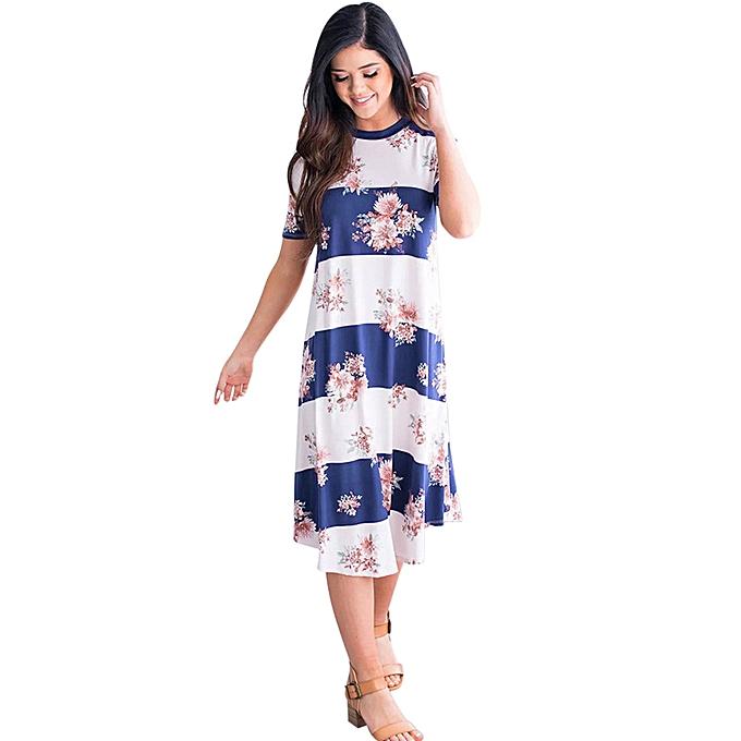 Generic Fovibery femmes O-Neck Boho Dress Lady Beach Summer Sundrss Maxi Dress à prix pas cher