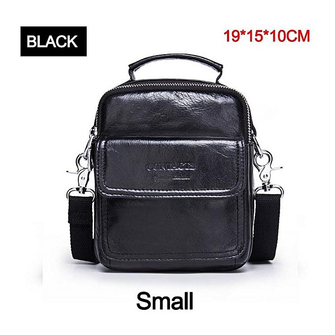 Other CONTACT'S Small Cow  Leather Bag Men Bag Male Shoulder Bag Crossbody Messenger Bag Men Leather Handbag marron Briefcase(noir Small) à prix pas cher