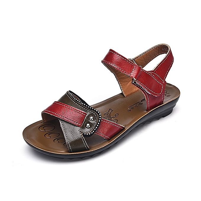 Fashion femmes Leather chaussures Hook Loop Casual Comfy Flat Sandals à prix pas cher