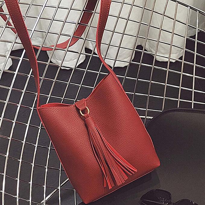 Siketu Fashion femmes Leather Tassels Handbag Cross Body Single Shoulder Bucket Bag RD- rouge à prix pas cher