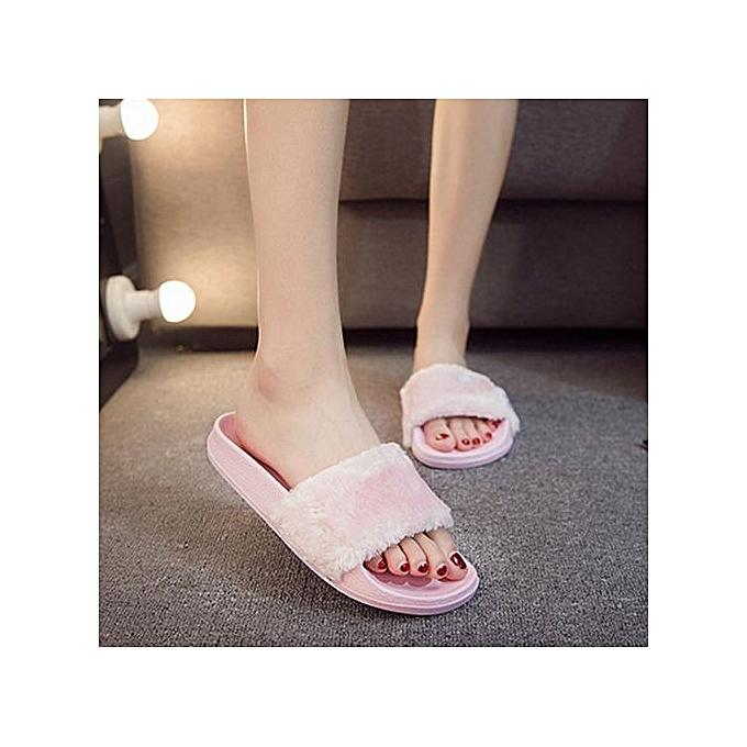Fashion Hiamok_femmes Ladies Slip On Sliders Fluffy Faux Fur Flat Slipper Flip Flop Sandal à prix pas cher    Jumia Maroc