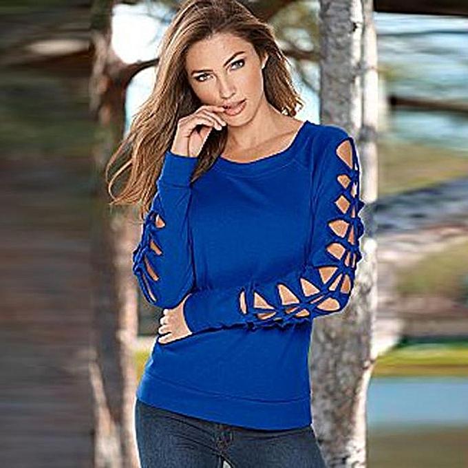 mode mode femmes manche longue Shirt Décontracté chemisier Loose hauts T Shirt BU L à prix pas cher