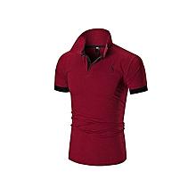 d0a6f98e71 T-shirt décontracté à manches courtes pour hommes - Rouge