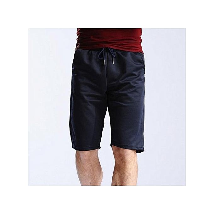 Generic Men's Casual Cotton Elastic Gym Shorts (Navy bleu) à prix pas cher
