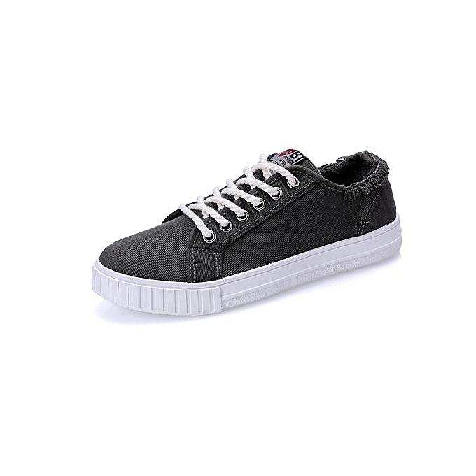 mode nouveau Top mode Décontracté toile chaussures Hommes Lace Up respirant Denim Hommes's Flats-noir à prix pas cher