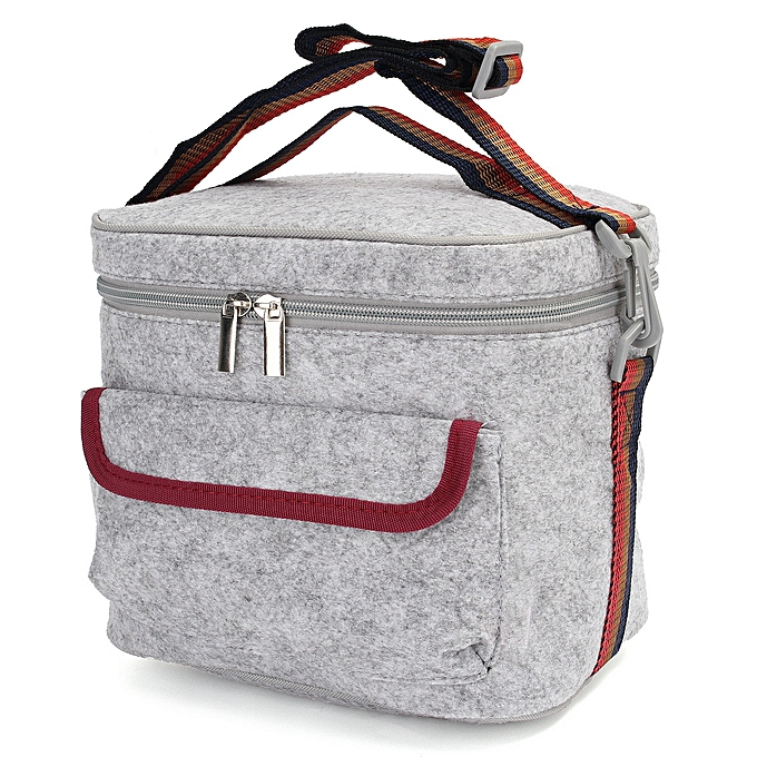 UNIVERSAL Felt Picnic Insulated Thermal Cooler Lunch Storage Bag Tote Shoulder Strap Carry à prix pas cher