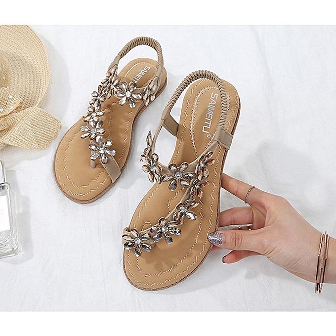 Fashion SOCOFY femmes Summer Clip Toe Beach Sandals Bohemian Flat Slippers Casual chaussures  à prix pas cher
