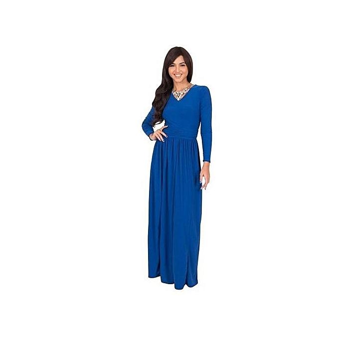 Generic manche longue Bodycon Maxi Robe (bleu) à prix pas cher