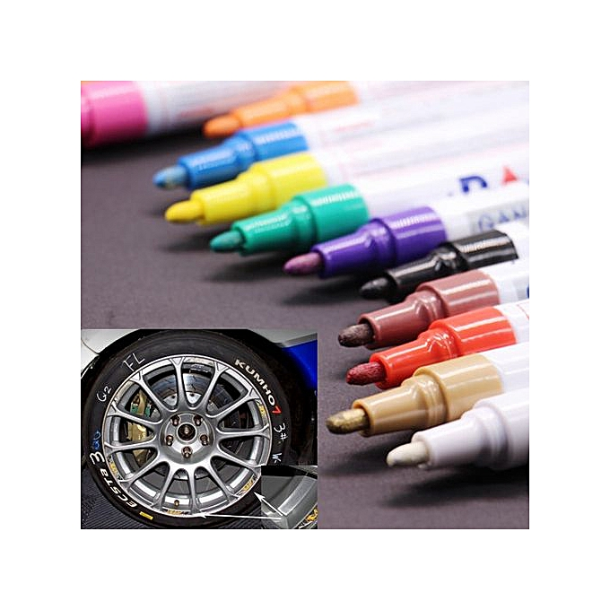 Generic Trend 12PC Kids Art Menu Board Perhommeent Waterproof Car Tyre Metal Paint Marking Pen à prix pas cher