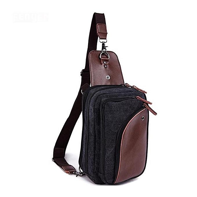 Fashion Canvas bag Men and femmes chest bag Trend European and American vintage canvas bag with leather diagonal bag à prix pas cher