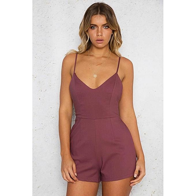 Fashion YOINS femmes Fashion Clothing Casual Sleeveless Claret V-Neck Playsuit à prix pas cher