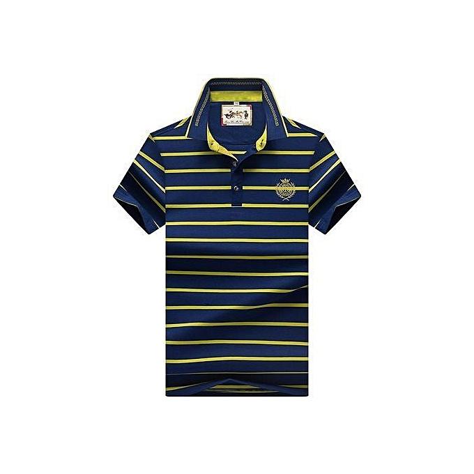OEM Super Big Taille 87  Hommes Polo Shirt nouveau Cotton été rayé Polo Hommes Affaires Décontracté Hommes& 039;s Clothing courte-sleeved Polo - vert à prix pas cher