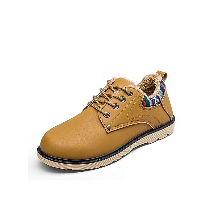 Fashion Men Casual chaussures Men Spring Autumn Waterproof Solid Lace-up Man Flat With Pu Leather chaussures-jaune à prix pas cher    Jumia Maroc