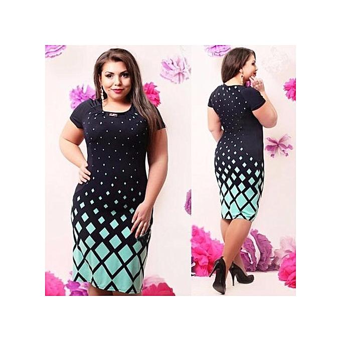 OEM Large Taille Wohommes Hollow Dress New 4-Couleur Fashion Flower Large Taille Solid Couleur femmes Plus Taille Dress - noir vert à prix pas cher