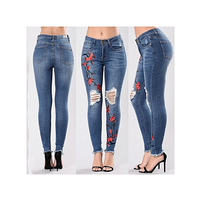 Generic Fashion hole embroiderouge high-elastic jeans female casual pocket skinny pencil jean pants jeans femmes trousers-dark bleu à prix pas cher