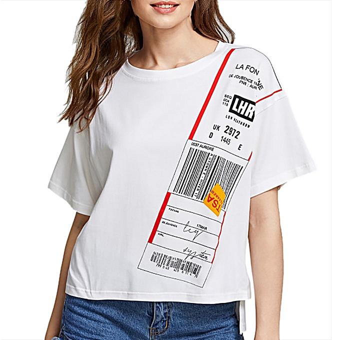 Generic Generic Fashion femmes Girl Stepped Hem T-shirt Short Sleeve Boxy Tee O-Neck Printed Tops A1 à prix pas cher