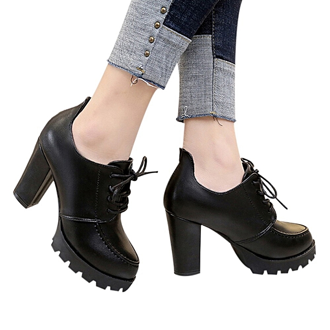Fashion Fashion WoHommes  High Heel Thick Heel Shoes British Girls Girls British Small Leather Shoes - à prix pas cher  | Jumia Maroc d33d78