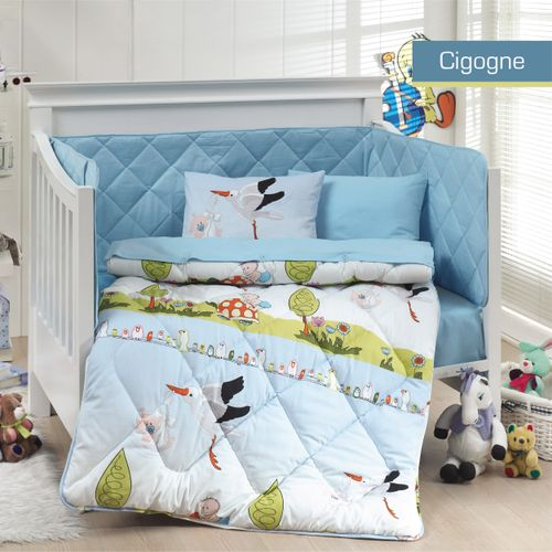 autre b b parure de lit cigogne boy cute style acheter. Black Bedroom Furniture Sets. Home Design Ideas