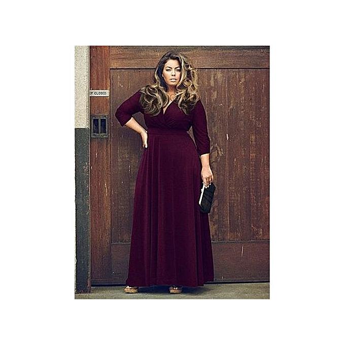 mode nouveau Style Plus Taille Robe femmes mode Robees Lady Leisure Robe -violet à prix pas cher