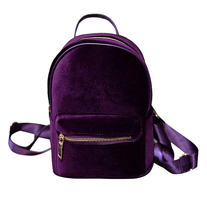 Fashion Tcetoctre Fashion Simple Backpack Soft Velvet Backpack femmes Small Travel Backpack-violet à prix pas cher