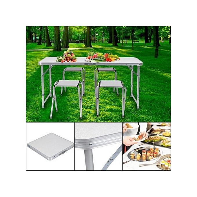 Table Pliable De Jardin Voyage Au Camping Avec 4 Chaises Pliantes MDF