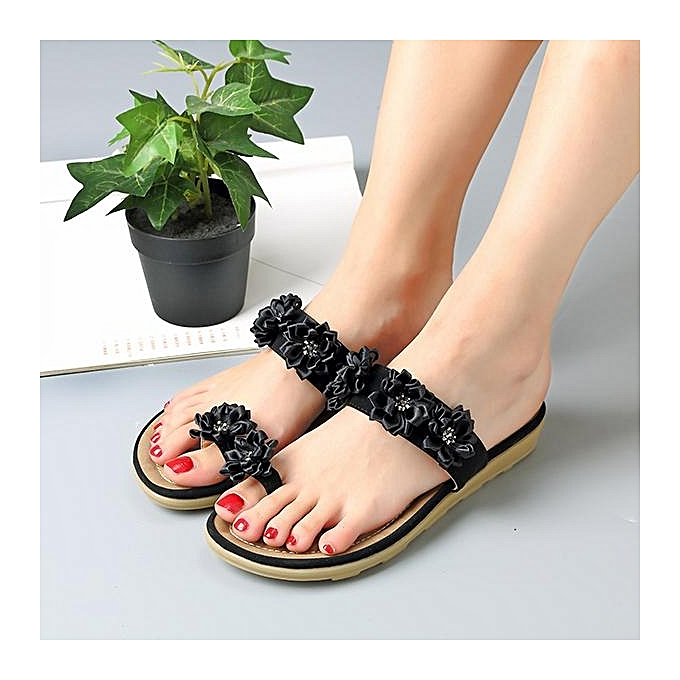 Fashion SOCOFY Floral Bohemia Clip Toe Flat Slippers Flat Sandals chaussures For femmes à prix pas cher