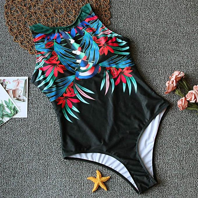 Autre Print Floral maillot de bain femmes maillot de bain Vintage Bodysuit Female High Neck Bathing Suit été plagewear(3) à prix pas cher