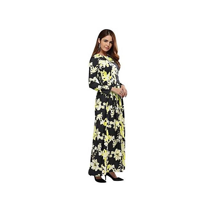 mode Vintage Style Round Collar Sash Waist A-line Floral Robe For femmes - jaune à prix pas cher