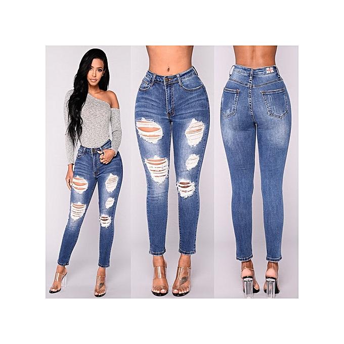 OEM New arrivel Fashion hole elastic denim waist pants female causal pocket skinny pencil jean pants jeans femmes trousers-bleu à prix pas cher