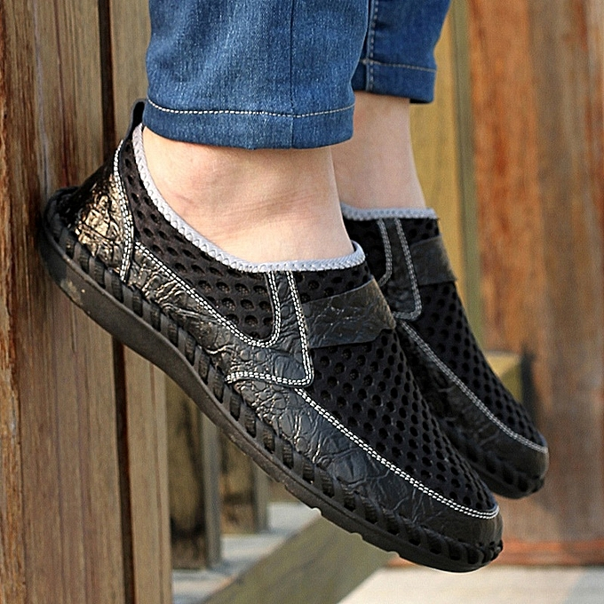 Other Taille 38-46 Breathable Men's Sports chaussures Leather Mesh chaussures-noir à prix pas cher