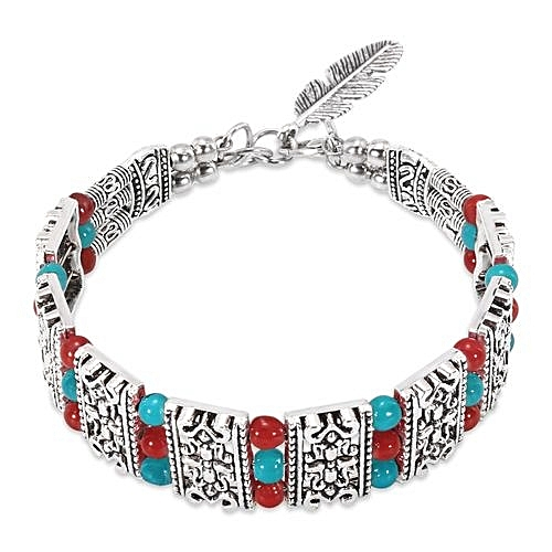 Hl vintage bohemian hollow out bead leaf women bracelet for Accessoire chambre bebe