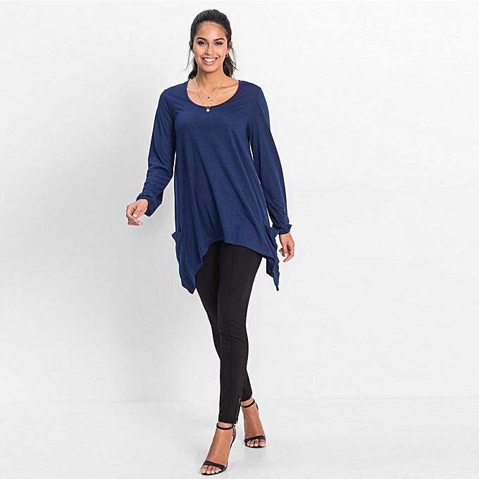 Fashion (Xiuxingzi) femmes O Neck Tops Long Sleeve Pocket Irregular Tops Blouse T-Shirt à prix pas cher