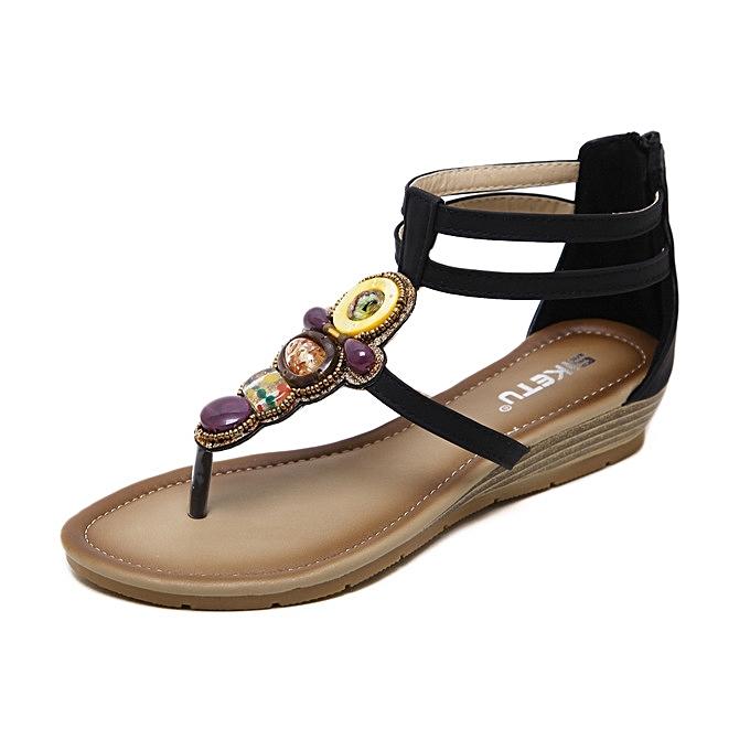 Générique Large   female sandals new Roman  ethnic style slope  Roman   's Chaussure s wedges beach Chaussure s-Noir  à prix pas cher  | Black Friday 2018 | Jumia Maroc 8374d3