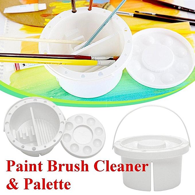 UNIVERSAL PP blanc Artist Paint Brush Cleaner Tub Holder Container WaterCouleur Oil Face Art à prix pas cher