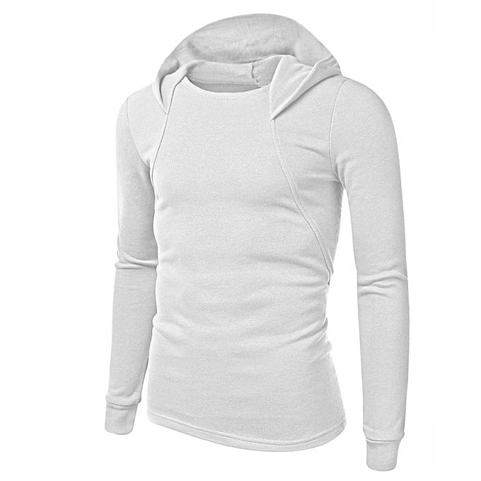 Fashion Men's Long Sleeve Solid Hoodie Hooded Sweatshirt Tops Jacket Coat Outwear à prix pas cher