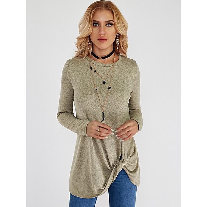 Fashion femmes Taupe Crossed Front Design Plain Round Neck T-shirt à prix pas cher