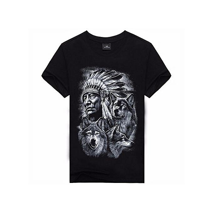 Other T shirt impression manche courte Wolf 3D noir Pour des hommes Shirts à prix pas cher