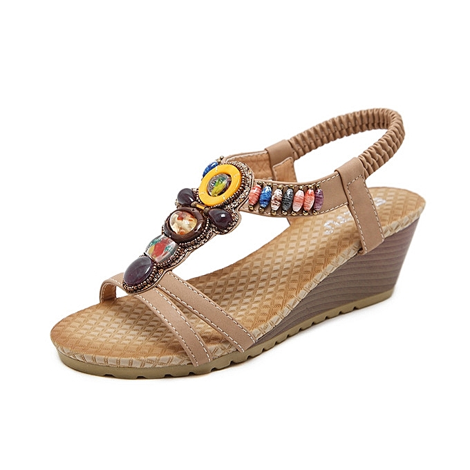 OEM New style  Large Taille Female Sandals Beaded Bohemian chaussures femme Sandals Wedge Platform chaussures-apricot à prix pas cher