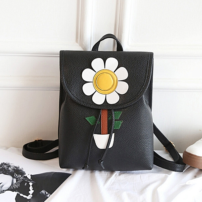 Fashion Tcetoctre femmes Flowers Fresh Simple Mini Backpack femmes Back Pack Backpacks Girls BK-noir à prix pas cher