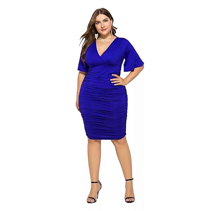 Fashion Robe mi-longue moulante sexy à col en V sexy-bleu à prix pas cher