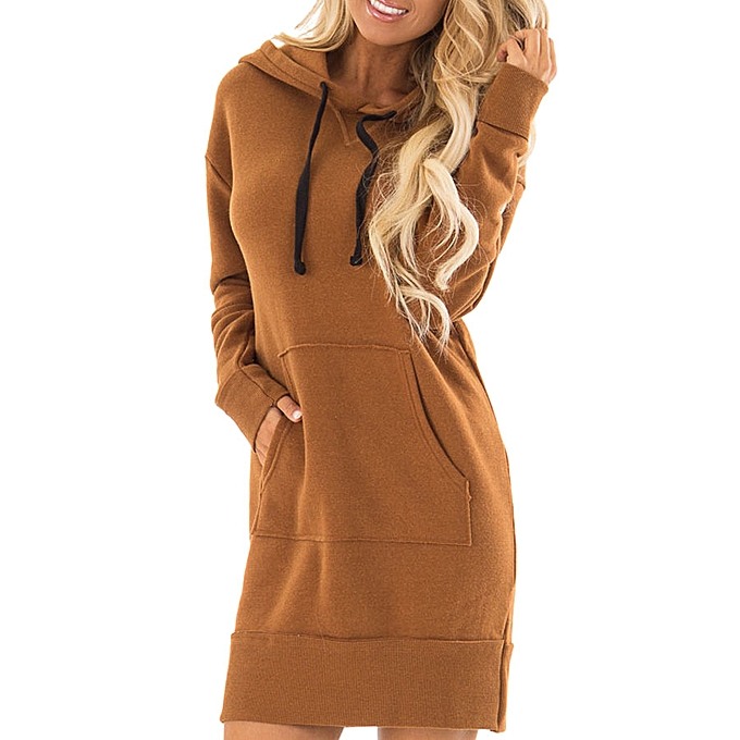 Fashion schoolcool femmes Pocket Loose Dress Ladies Hooded Casual Long Tops Dress With Pocket à prix pas cher