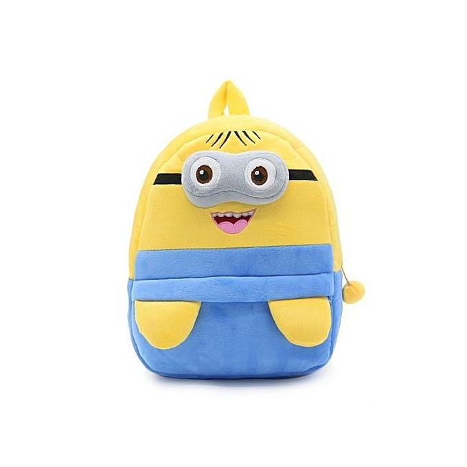 Generic UJ Cute voituretoon Enfants Plush sac à dos Toy Mini School sac For Aged 3-5 Years-jaune & bleu à prix pas cher